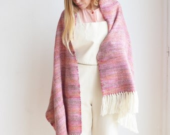 Fuchsia Red Pashmina Scarf Handwoven Merino Wool