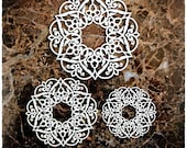 Reneabouquets Beautiful Board April In Paris Doily Two Set Of 3 Laser Cut Chipboard Frames Double Side Vintage White Coated