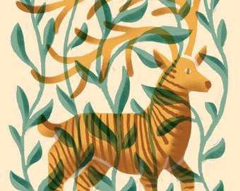 Jungle Deer Illustration Print