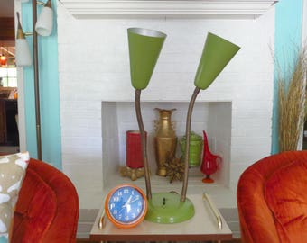Vintage 1960s MID Century Modern Green Metal Dual Cone Sconce Gooseneck Desk Lamp
