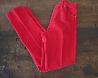 1980s Bright Red Wrangler Slim Cut Cropped Jeans / 60s 70s Wrangler Jeans - Red Denim High Waisted Rockabilly Jeans