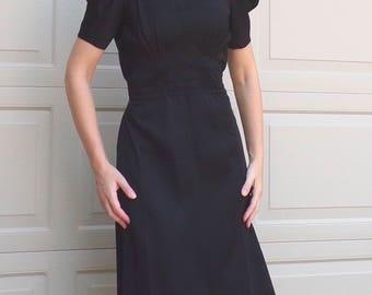 BLACK TAFFETA party DRESS vintage 1930's 1940's S