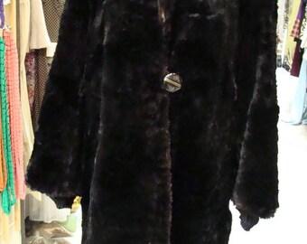 1940's VINTAGE BLACK COAT 40's mid-length fur S