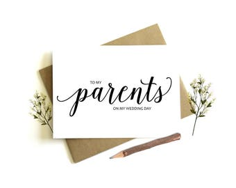 To My Parents on my Wedding Day Card - Wedding Day Card, To My Parents, Parents Wedding Card, Parents Wedding Day, To My Parents, Wedding
