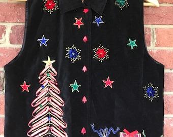 Ugly Christmas Sweater, Adult Size Small Xmas Christmas Tree Vest, Vintage Dress Barn Black Velvet Vest, Ugly Sweater Party, Holiday Vest