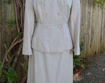 Exceptional Vintage 1950's I.J. Fox - Jovon Fashions Inc. Dove Grey Skirt Suit with Rhinestone Buttons
