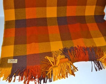 """Vintage Faribo hand woven pure wool orange brown blanket Satillo 62"""" x 71"""" fluff loomed blanket throw camping orange brown colorful fringed"""