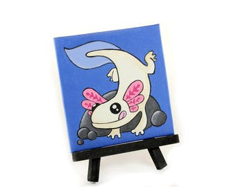 Axolotl Painting, Mexican Salamander Miniature Canvas Art, Small Painting, Cute Kawaii Desk Art, Children's room Decor, Whimsical Canvas Art