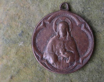 Antique French Sacred Heart of Jesus Religious Medal, Catholic Collectible, Christian Pendant, Religious Jewelry Supplies
