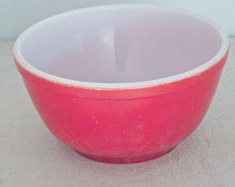 Red PYREX Mixing Bowl 402 Size Primary Color Series Nesting Midcentury Glass