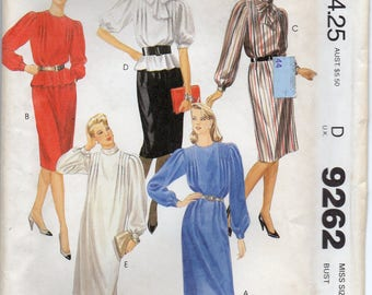 Pullover Dress Or Top Front And Back Shoulder Tucks Sleeves With Pleated Cap And Skirt Plus Size 16 Sewing Pattern 1984 McCalls 9262