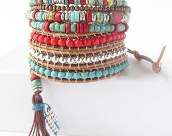 Wrap Bracelet-Beaded Leather Wrap Bracelet for Women-Leather Wrap-Beaded Wrap Bracelets for Women-Leather Wrap Bracelet with Charm