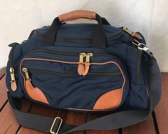 L.L. BEAN Freeport Maine Authentic Vintage Navy Blue Canvas and Tan Leather Trim Duffel Bag