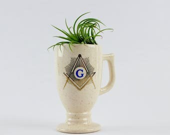 Vintage Freemason Footed Mug - Masonic Square and Compass Symbol on Chalice with Handle