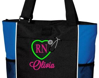 RN Tote, Nurse Tote, Monogrammed Nurse Bag, Stethoscope Heart Monogram, Embroidered RN Tote, RN Monogram, Stethoscope Monogram Tote