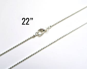 "300 Silver 1.5mm Ball Chain Necklaces - WHOLESALE - 22"" - Silver Plated - Ships IMMEDIATELY from California - CH677e"