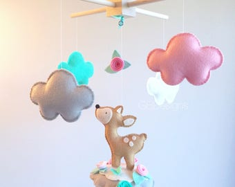 Baby  mobile - deer mobile - doe baby mobile  - Couds mobile - baby mobile clouds - cloud nursery - forest mobile