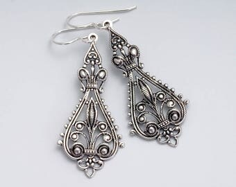 Silver Filigree Earrings, Nickel Free Antiqued Brass Earrings, Filigree Drop Earrings, Hypoallergenic Jewelry, Silver Metal Earrings, Fhina