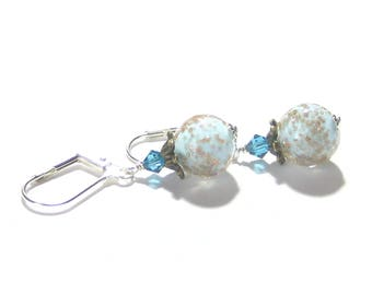 Murano Glass Aquamarine Copper Ball Silver Earrings, Leverback Earrings, Clip on Earrings, Venetian Glass Jewelry, Sterling Posts
