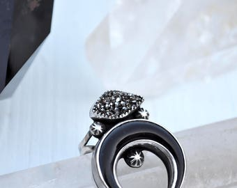 The Watcher Ring / Pyrite Druzy + Black Horn Crescent Sterling Silver Statement Ring