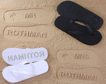 His and Her Flip Flops Personalized Bridal Wedding *check size chart before ordering*