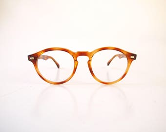 Vintage 80s 90s round retro amber tortoise womens eyeglasses frames with keyhole bridge rounded spectacles