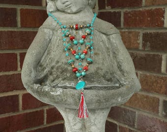 Boho Chevron Necklace Turquoise Dyed Howlite Stone, Red Coral, Silver Plated Beads Handmade OOAK-New!