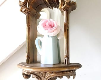 Vintage Mirrored Shelf Sconce Wood Gold Ornate