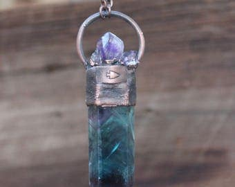 Rough Amethyst Crystal Quartz And Fluorite Point Necklace • Unisex • One Of A Kind • Electroformed • Nature Inspired