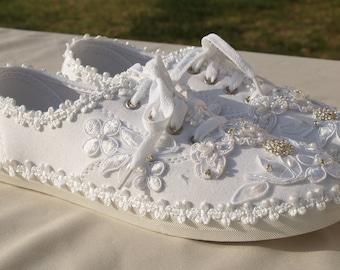 Size 10 Wedding Sneakers Ready to ship,White Canvas flat Bridal Shoe,Boho Wedding Shoes,Wedding embellish Tennis Shoes,Bridal Ties Sneakers