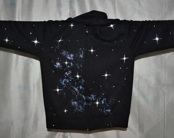 Space Hoodie. Lilac and blue galaxy and bright stars on an adult small, black hoodie, cosmic, camping, festival, beach, star gazing
