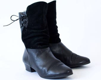 Vintage Women's Black Lined Leather Heeled Ankle Calf Boots UK 5 EU 38 US 7