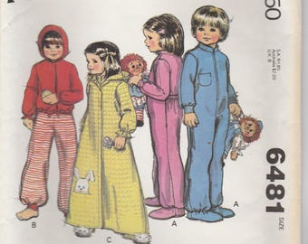 Footie Pajamas & Hooded Robe or Jacket Pattern McCalls 6481 Sizes 5 Uncut