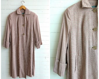 Vintage 1950s houndstooth swing coat, lightweight coat, spring fall coat, medium