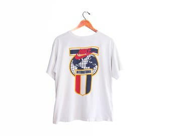 vintage t shirt / NIKE t shirt / 90s sportswear / 1990s NIKE International white t shirt Small