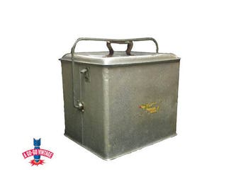 Vintage Poloron Metal Cooler, 1950's Silver Fiberglass Beer Cooler Ice Chest Box