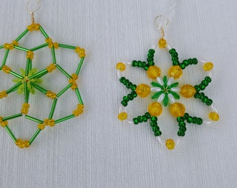Two hand-beaded Green Yellow Team Ornaments SunCatchers Green Bay Packers