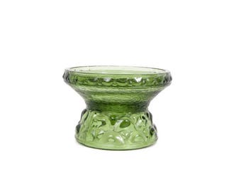 Vintage Green Glass Candle Holder E O Brody Co Pressed Glass Footed Votive Avocado Candlestick Holder