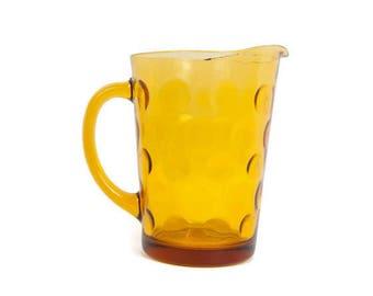 Vintage Amber Glass Pitcher Polka Dot Pattern Coin Yellow Glassware Retro Mid Century Mad Men Serving Pitcher Water Milk