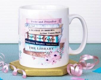 Personalised Books & Coffee Mug, 2 sided-design, Book Mug, UK