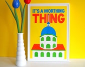 It's A Worthing Thing A3 Risograph Print, Worthing Print, Riso Print, West Sussex Art, Worthing Poster, Worthing Art Print, Dome Cinema