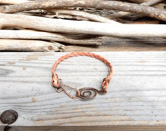 Natural Tan Leather Bracelet Simple Beige Leather Band Handmade Copper Leather Bracelet Minimalist Jewelry Boho Stocking Stuffer Gift