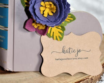 Felt Flower Planner Charm with Lobster Clasp/ Gold TN Charm/ Travellers Notebook Charm/ Planner Charm/ Planner Accessory/ Blue Flower