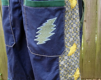 mens SOLD OUT patchwork Dude Shorts navy blue hippie ginko botanical seven  30 32 34 36 38 40 earthy ready to ship festival burner sold out