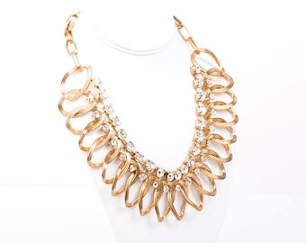 Vintage Oval Link Rhinestone Statement Necklace