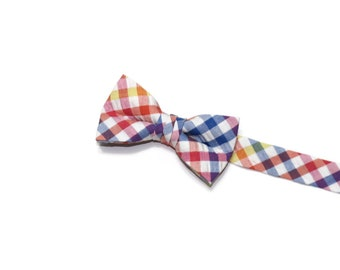Boys Bow Tie~Easter Bow Tie~Summer Bow Tie~Boys Plaid Bow Tie~Ring Bearer Tie~Wedding Bow Tie~Boys Gift~HoBo Ties~Multi Check Bow Tie