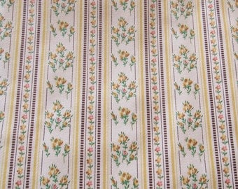 yellow floral ticking stripe recycled vintage cotton fabric -- 32 wide by 2 1/4 yards