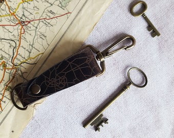 Personalised Road Map key fob, custom leather key ring road map engraved key fob leather choices boyfriend gift rustic leather new home gift