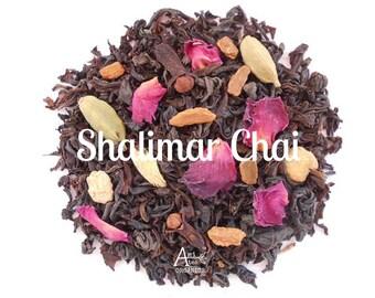 Rose Chai, Organic, Loose Leaf, Black Tea, Hand Blended, Cinnamon, Cardamom, Ginger, India Spice Tea, Exotic, Hot Tea, SHALIMAR CHAI