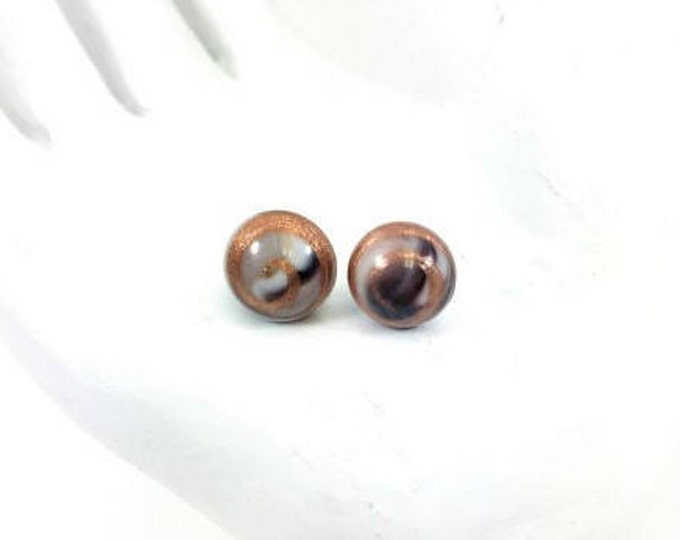 Vintage Glass Button Stud Earrings Black White Gold Adventurina Round Cabochon